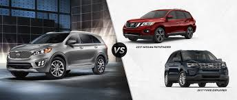 nissan pathfinder images 2017 2017 kia sorento vs 2017 ford explorer vs 2017 nissan pathfinder
