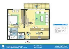 Sq Mt Sq Ft by 1 Bedroom Type 1a 796 Sqft Floor Plan Of Al Reef Downtown Al Reef