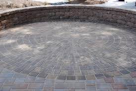 Small Patio Pavers Ideas by Large Stacked Grey Stone Patio With Curved Grey Stone Bench Near
