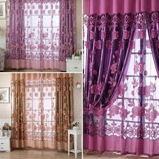 Single Window Curtain by Sheer Voile Door Window Curtain Drape Net Panel Plain Floral Tulle