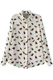 bird blouse demure bird print button blouse oasap com
