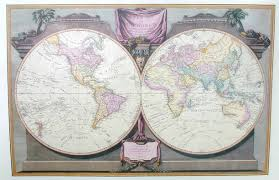Antique World Map by Antique World Map From 1808