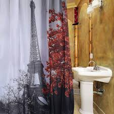 Eiffel Tower Window Curtains by Dropship Cityscape Grey Paris Eiffel Tower Red Maple Design