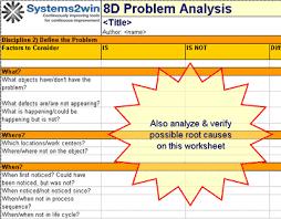 Problem Solving Template Excel 8d Report 8d Problem Solving Template