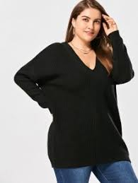v neck back lace up plus size sweater black plus size sweaters