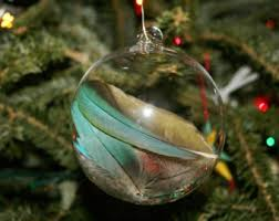 hand blown glass christmas ornament peacock feather