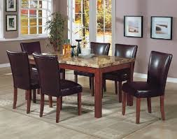 rooms to go kitchen furniture 7pcs granite top dining table 6 brown parson chairs
