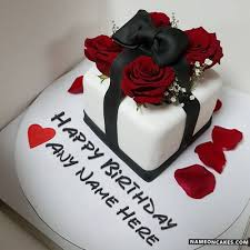romantic decorated red roses birthday cake with name hbd cake