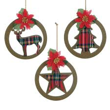 plaid silhouette christmas ornament set wholesale at koehler home