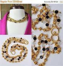 gold black bead necklace images Vintage swarovski sal multi strand crystal necklace gold black jpg