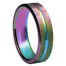 titanium colored rings images 4mm women 39 s tungsten wedding band rainbow anodized tungsten jpg