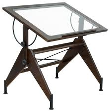 Drafting Table Aries Glass Top Table Dark Walnut And Black Industrial