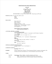 Highschool Resume Examples by College Resume College Application Resume Sample College Resume