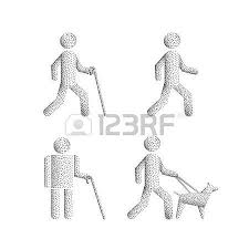 Blind People Stick Set Of Icons Stick Figure With Blind People The Silhouette Of