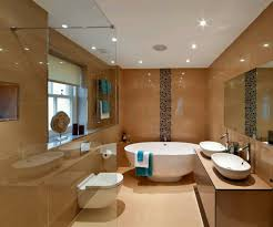 perfect bathroom using glossy tiles wall and comfy big white