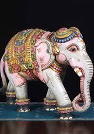 Elephant Statue Wooden Painted Elephant Sculpture 24