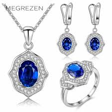 accessories ring necklace images Megrezen bridal silver jewelry sets wedding accessories royal blue jpg