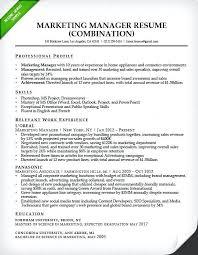 resume sample marketing manager marketing manager combination