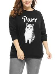 unique bargains women u0027s plus size letter cat crew neck graphic