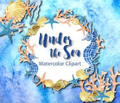 watercolor sea clip art watercolor handpainted clipart seahorse