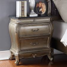 meridian furniture roma ns roma antique silver night stand w