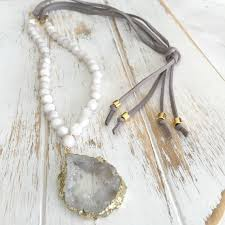 long leather necklace jewelry images Suede necklace long white agate necklace druzy bohemian jpg