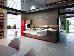 inspiring kitchen interior designing with red kitchen cabinet and