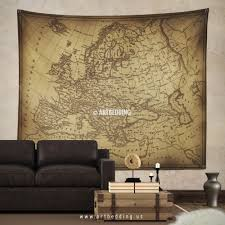 old map of europe wall tapestry vintage interior world map wall