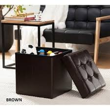 Leather Cube Ottoman Dark Brown Bonded Leather Cube Ottoman Free Shipping On Orders