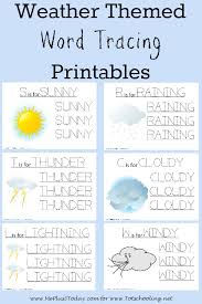 free printable word tracing sheets free weather themed word tracing printables totschooling toddler