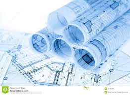 blueprints for house rolls of architecture blueprints stock illustration illustration