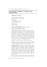 an assessment of dilution in sublevel caving at kazansi mine