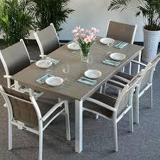 outdoor garden tables uk garden table set virginia white chagne 6 person aluminium