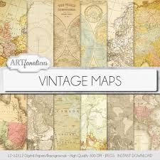 Large Vintage World Map by Vintage Maps Digital Paper Vintage Maps