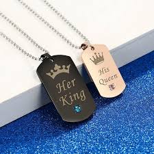 couple necklace images Her king his queen couple necklaces with crown best valentine jpg