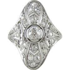 art deco diamond cocktail ring filigree design 18 carat white