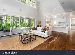 beautiful large living room hardwood floors stock photo 450308995