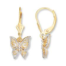 gold dangle earrings jared butterfly dangle earrings 14k yellow gold