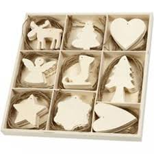 box of 72 plywood hanging 3d wooden decorations