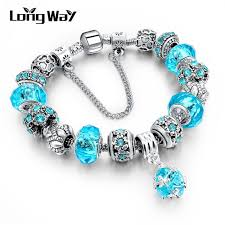 european sterling silver charm bracelet images Longway european style authentic tibetan silver blue crystal charm jpg