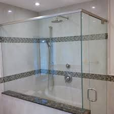 glass shower door half wall custom glass shower enclosure with cambria quartz laneshaw sill