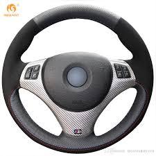bmw 325i steering wheel mewant black genuine leather black suede car steering wheel cover