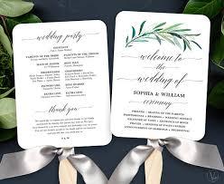 cheap wedding fan programs greenery wedding fan program printable wedding fan program