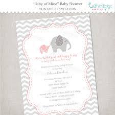 elephant baby shower invitation printable digital file or