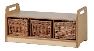Bench With Storage Baskets by Millhouse Low Level Storage Bench Nursery Storage Unit Wicker Baskets