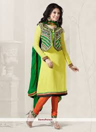 design of jacket suit buy lemon yellow jacket style georgette churidar suit online