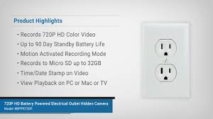 spygeargadgets 720p hd battery powered electrical outlet hidden
