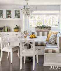 kitchen nook table ideas transitional white breakfast nook with striped banquette seating