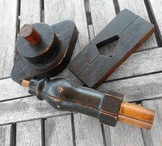 vintage industrial wood mold foundry natural wood cylindrical