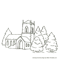 christmas scenes coloring pages church trees